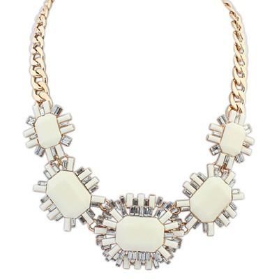 Elegant beige gemstone decorated octagonal design alloy Bib Necklaces