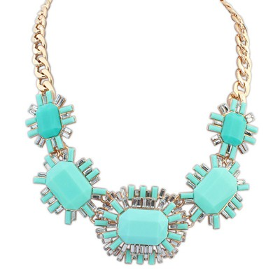 Fused blue gemstone decorated octagonal design alloy Bib Necklaces