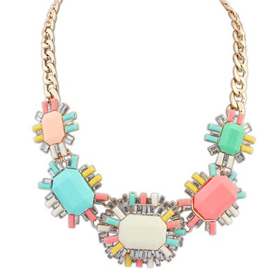 Novelty multicolor gemstone decorated octagonal design alloy Bib Necklaces