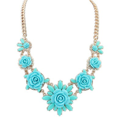 Pretty light blue sweet flower decorated simple design alloy Bib Necklaces