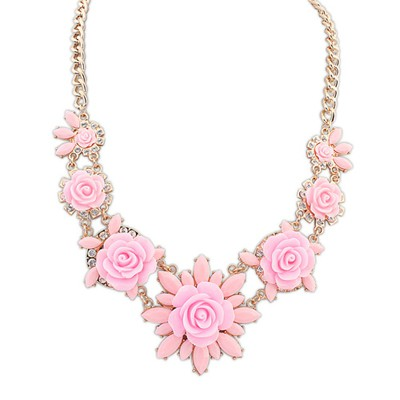 Pretty pink sweet flower decorated simple design alloy Bib Necklaces