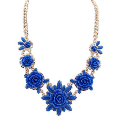 Fitness dark blue sweet flower decorated simple design alloy Bib Necklaces