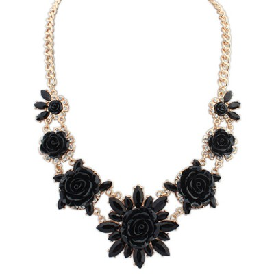 Art black sweet flower decorated simple design alloy Bib Necklaces