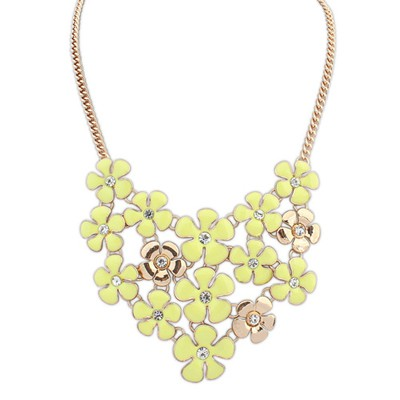 Toddler yellow diamond decorated flower design alloy Bib Necklaces