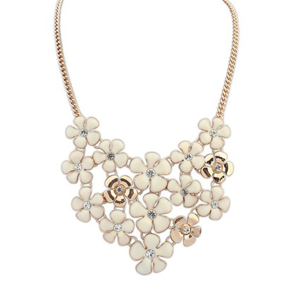 Guardian beige diamond decorated flower design alloy Bib Necklaces