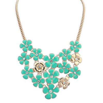 Rave green diamond decorated flower design alloy Bib Necklaces