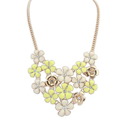 Named yellow & beige diamond decorated flower design alloy Bib Necklaces