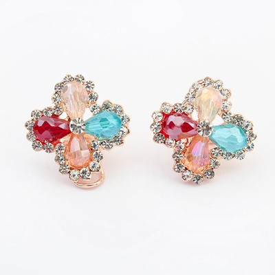 Monogram multicolor diamond decorated clover shape design alloy Stud Earrings