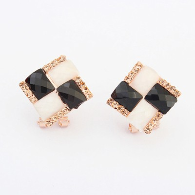 Business balck & white gemstone decorated square shape design alloy Stud Earrings