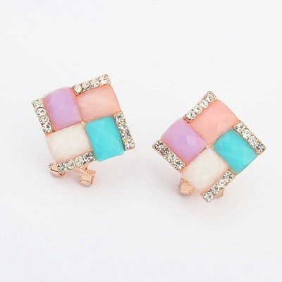 Quicksilve multicolor gemstone decorated square shape design alloy Stud Earrings