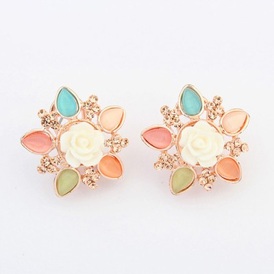 Marathon multicolor gemstone deocrated flower design alloy Stud Earrings