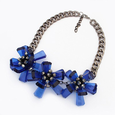 24K blue flower decorated simple design resin Bib Necklaces