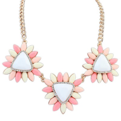 Statement pink gemstone decorated flower design alloy Bib Necklaces