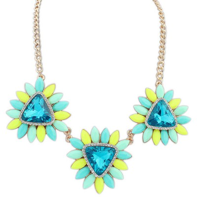 Plaid green gemstone decorated flower design alloy Bib Necklaces
