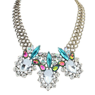 Friendly multicolor diamond decorated simple design alloy Bib Necklaces