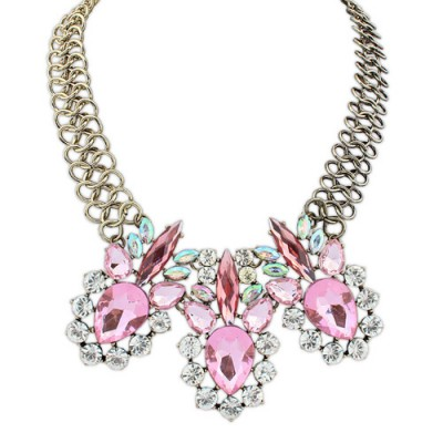 Photograph pink diamond decorated simple design alloy Bib Necklaces