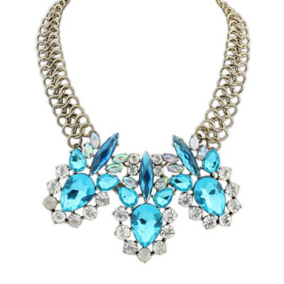 Premier blue diamond decorated simple design alloy Bib Necklaces