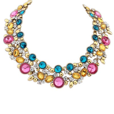 High multicolor gemstone decorated round shape design alloy Bib Necklaces