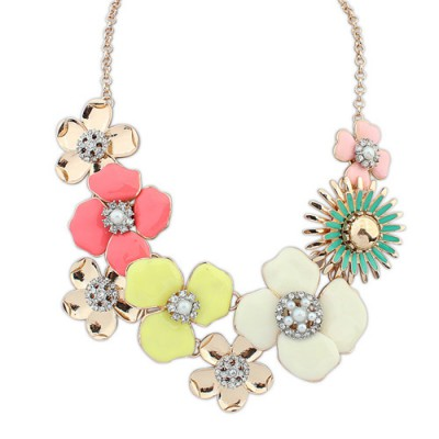 Sling multicolor diamond decorated flower design alloy Bib Necklaces