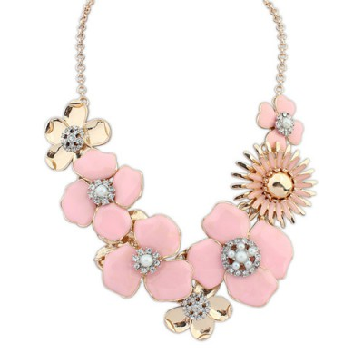 Fashion pink diamond decorated flower design alloy Bib Necklaces