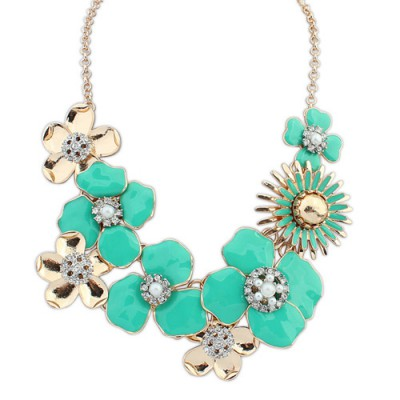 Detachable green diamond decorated flower design alloy Bib Necklaces