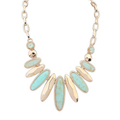 22K light blue gemstone decorated oval shape design alloy Bib Necklaces