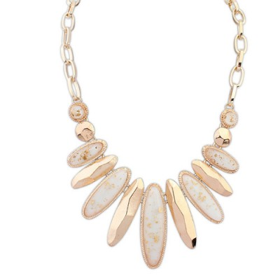 Fancy white gemstone decorated oval shape design alloy Bib Necklaces
