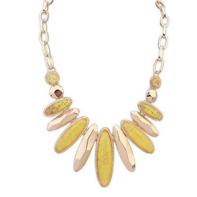 Dangle yellow gemstone decorated oval shape design alloy Bib Necklaces