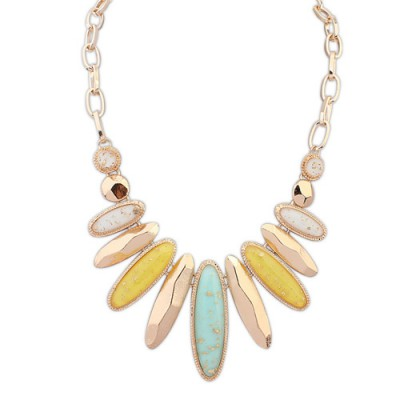 Lariat multicolor gemstone decorated oval shape design alloy Bib Necklaces