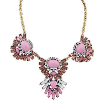 Venetian red gemstone decorated sector shape design alloy Bib Necklaces