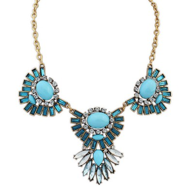 Bohemian blue gemstone decorated sector shape design alloy Bib Necklaces