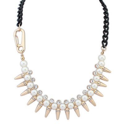 Harry gold color pearl decorated rivet design alloy Bib Necklaces