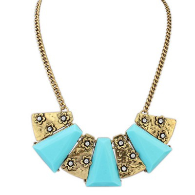 Apparel light blue flower decorated geometrical shape design alloy Bib Necklaces