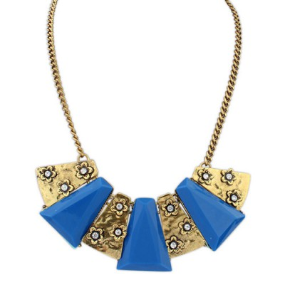 Premier dark blue flower decorated geometrical shape design alloy Bib Necklaces