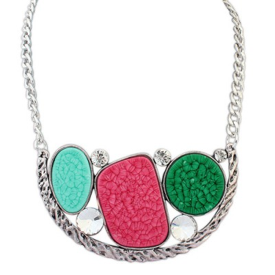 Graduated multicolor diamond decorated geometrical shape design alloy Bib Necklaces