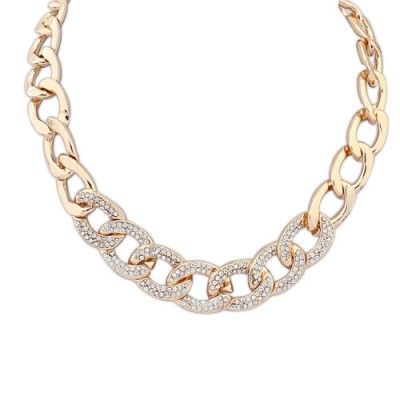 Pantsuit gold color diamond decorated chain design alloy Chains