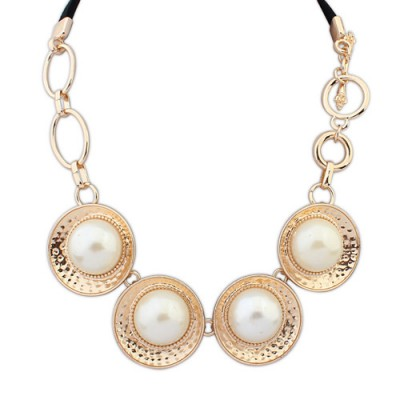 Magnetic gold color pearl decorated round design alloy Bib Necklaces