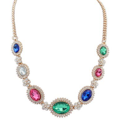 Estate multicolor gemstone decorated simple design alloy Bib Necklaces