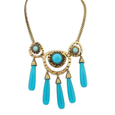 Spiritual blue gemstone decorated tassels design alloy Bib Necklaces