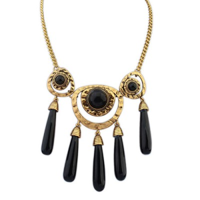 Beauteous dark gemstone decorated tassels design alloy Bib Necklaces