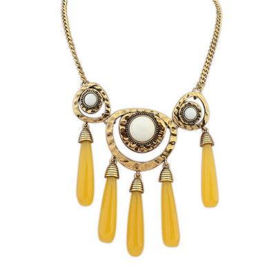 Modern yellow gemstone decorated tassels design alloy Bib Necklaces