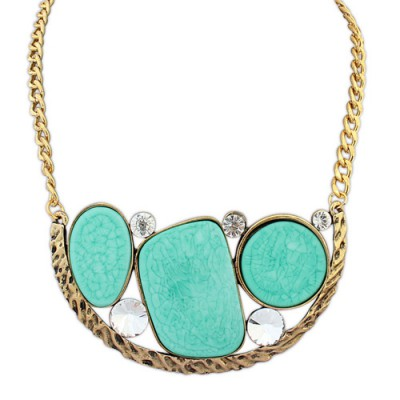 Blank blue & gold color gemstone decorated geometrical shape design alloy Bib Necklaces