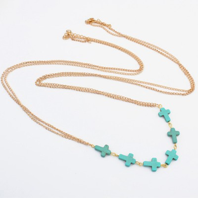 Recycled blue & gold color cross shape decorated simple design alloy Bib Necklaces