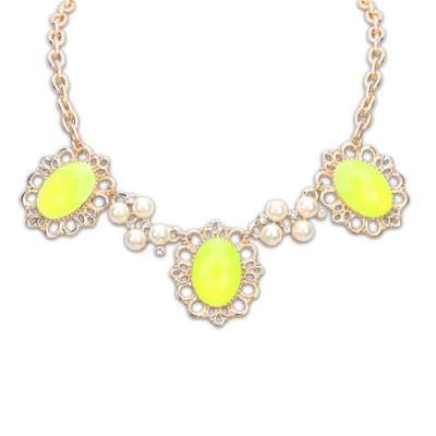 Lovely yellow pearl decorated flower design alloy Bib Necklaces