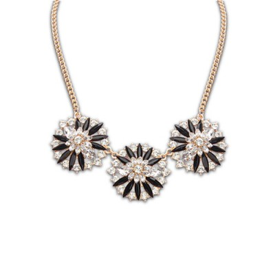 Double black diamond decorated flower design alloy Bib Necklaces