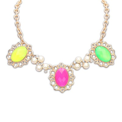 Wedding multicolor pearl decorated flower design alloy Bib Necklaces