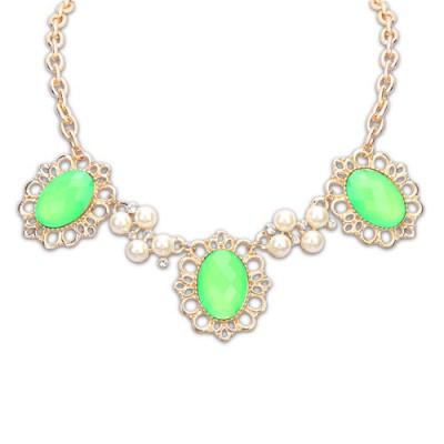 Facial green pearl decorated flower design alloy Bib Necklaces