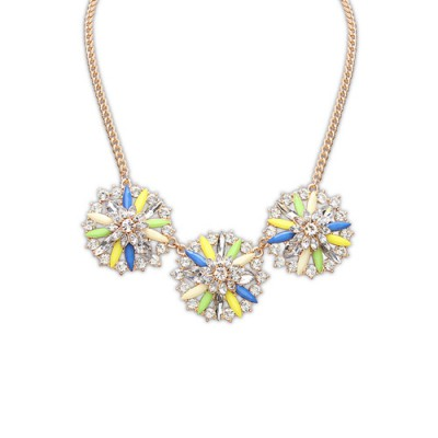Down multicolor diamond decorated flower design alloy Bib Necklaces