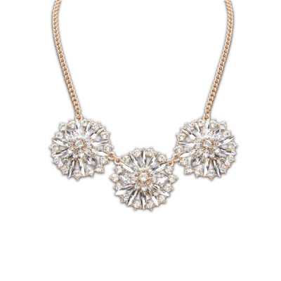 Budget white diamond decorated flower design alloy Bib Necklaces