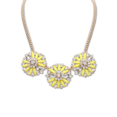 Packaging yellow diamond decorated flower design alloy Bib Necklaces